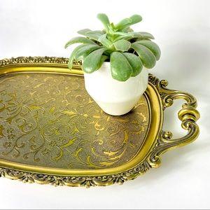 Vintage Gold Tone Serving Tray Decor Tray